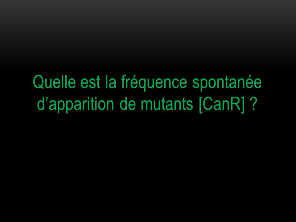 Quelle est la fréquence spontanée d'apparition de mutants [CanR]
